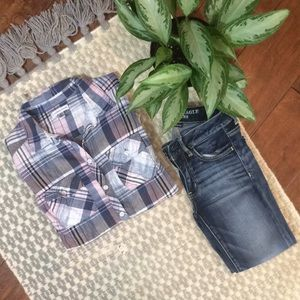 Navy Blush Plaid Button Down
